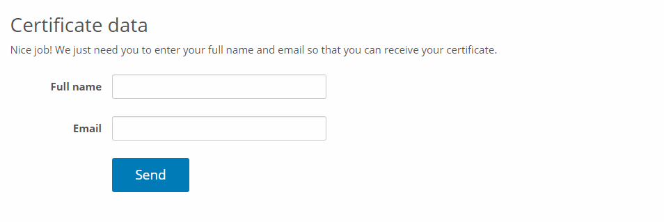 Enter name and email